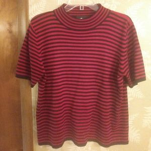 Sag Harbor red and black stripe crop top shirt